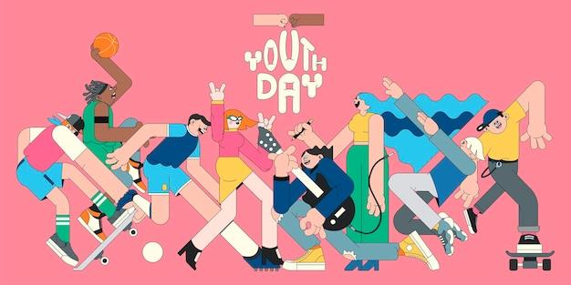 Vettore del modello del fondo rosa di celebrazione della giornata della gioventù Vettore Premium