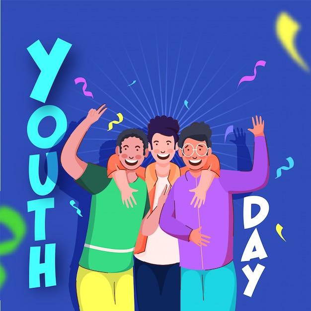 Testo della giornata della gioventù con giovani ragazzi allegri in azione selfie su sfondo blu decorato coriandoli.