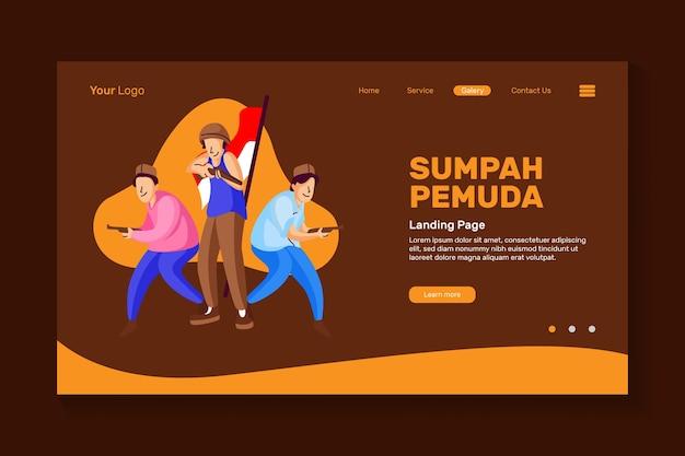 L'entusiasmo dei giovani per commemorare la giornata del giuramento dei giovani indonesiani per il giuramento dei giovani del design della pagina di destinazione del sito web
