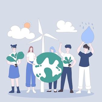La squadra giovanile salva l'illustrazione dell'ambiente