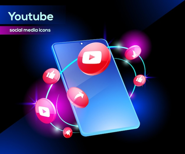 Icone youtube 3d con smartphone