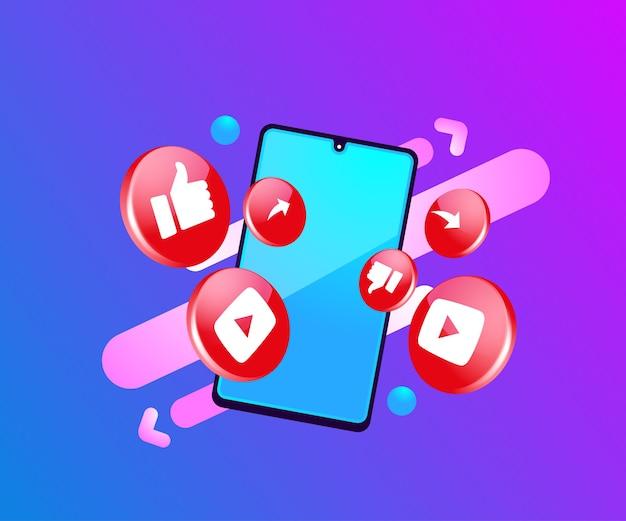 Youtube 3d social media icone con il simbolo dello smartphone