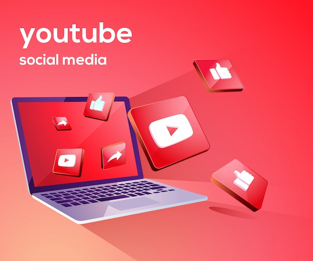 Youtube 3d social media iicon con laptop dekstop
