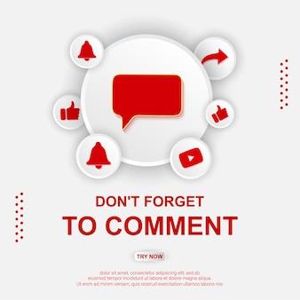Illustrazione del pulsante di commento di youtube