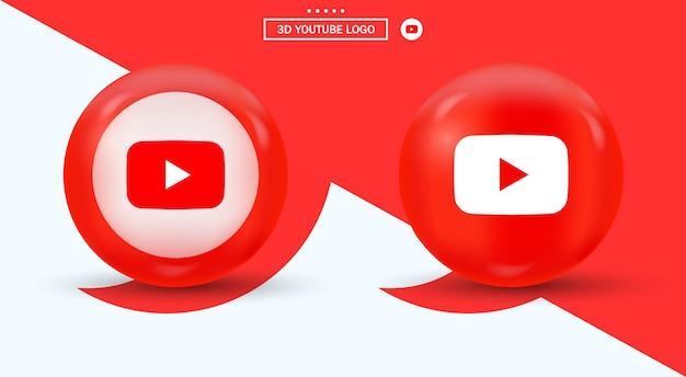 Youtube logo in circle logotipo di social media in stile moderno