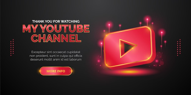 Design del logo youtube per la promozione del canale video di youtube