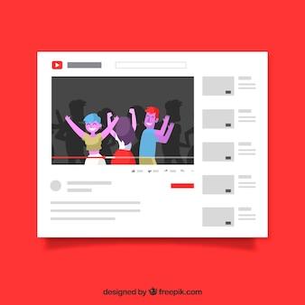 Lettore youtube con design piatto