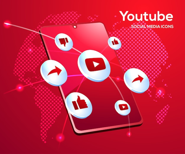 Youtube social media icone con il simbolo dello smartphone