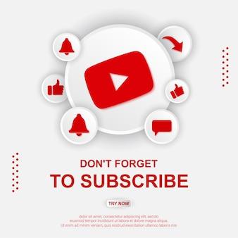 Illustrazione del pulsante di iscrizione di youtube