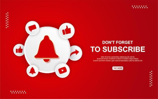 Pulsante di iscrizione di youtube con campana su sfondo rosso