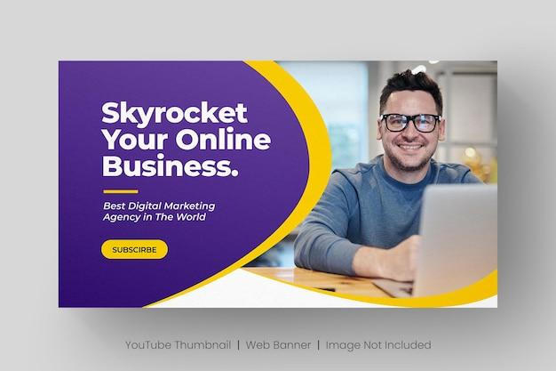 Miniatura video di youtube e modello di banner web per attività di marketing digitale
