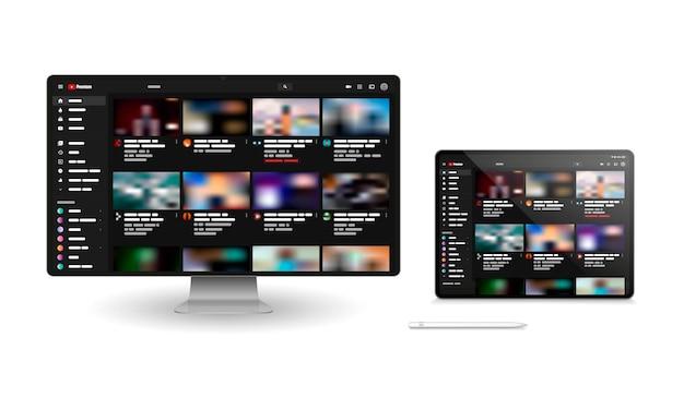 Finestre di youtube per diversi dispositivi.