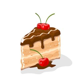 Delizioso pezzo di torta a strati, torta ricoperta di crema di burro al cioccolato con ciliegie in cima. dolce piacere.