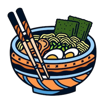 Illustrazione squisita del tatuaggio di ramen old school