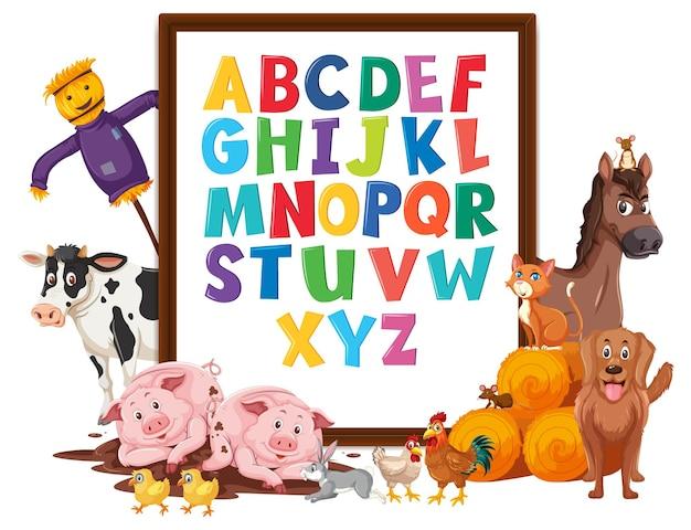 Az lavagna alfabeto con animali della fattoria