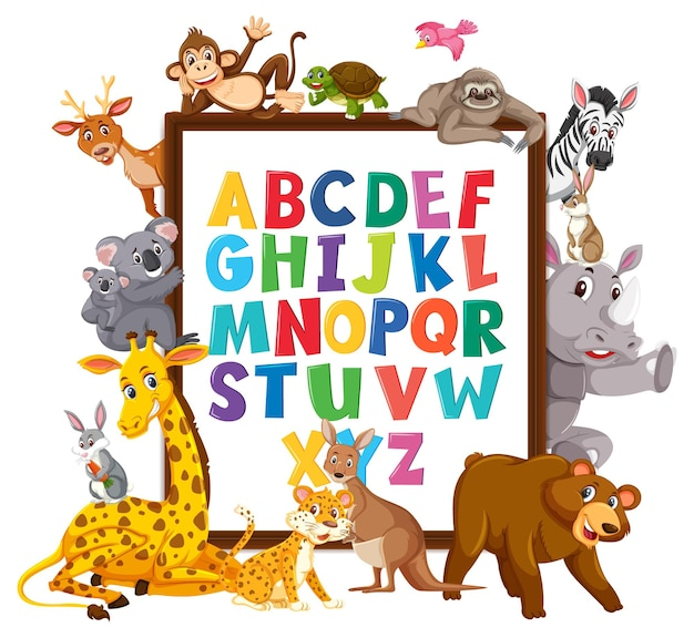 Az lavagna alfabetica con animali selvatici