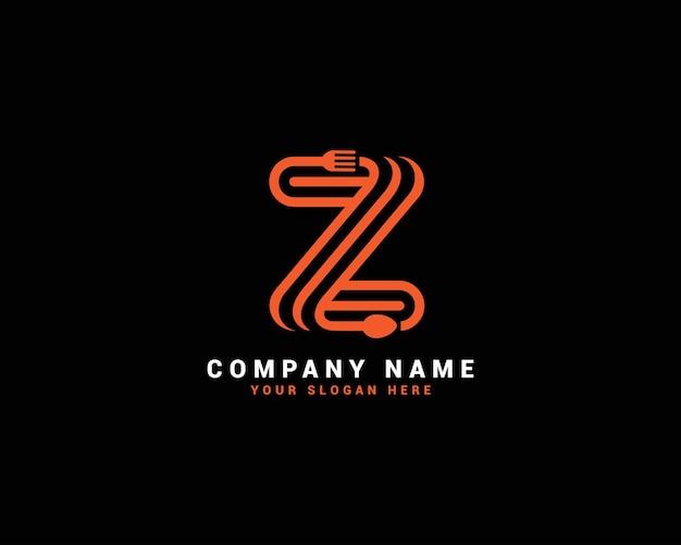 Logo della lettera di cibo z, logo della lettera del cucchiaio z, set di logo della lettera di cibo, alfabeto del cibo
