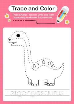 Z tracciare la parola per i dinosauri e colorare il foglio di lavoro con la parola zigongosaurus
