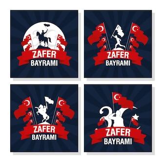 Zafer bayrami celebrazione card con set di icone Vettore Premium