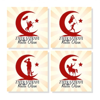 Zafer bayrami celebrazione card con set di icone