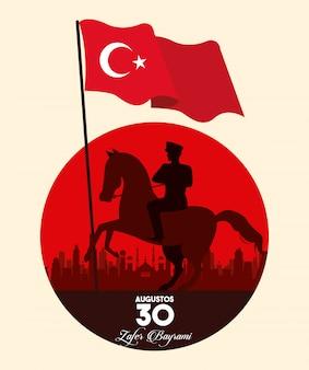 Celebrazione di zafer bayrami con soldato a cavallo sventolando bandiera
