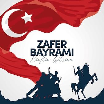 Zafer bayrami soldati e cavallo con bandiera turca