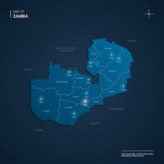 Mappa dello zambia con punti luce al neon blu - triangolo su gradiente blu scuro