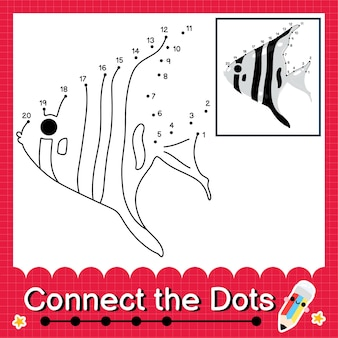 Il puzzle per bambini zebra angelfish collega il foglio di lavoro con i punti per i bambini che contano i numeri da 1 a 20