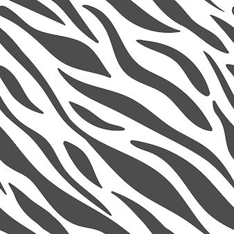 Zebra, pelle animale, strisce di tigre, trama astratta. modello in bianco e nero di vettore senza soluzione di continuità. Vettore Premium