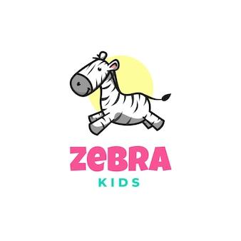 Modello di logo di stile del fumetto della mascotte della zebra