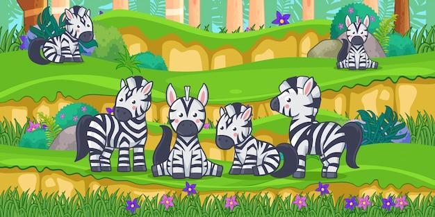 Cartone animato di zebre nel bellissimo giardino