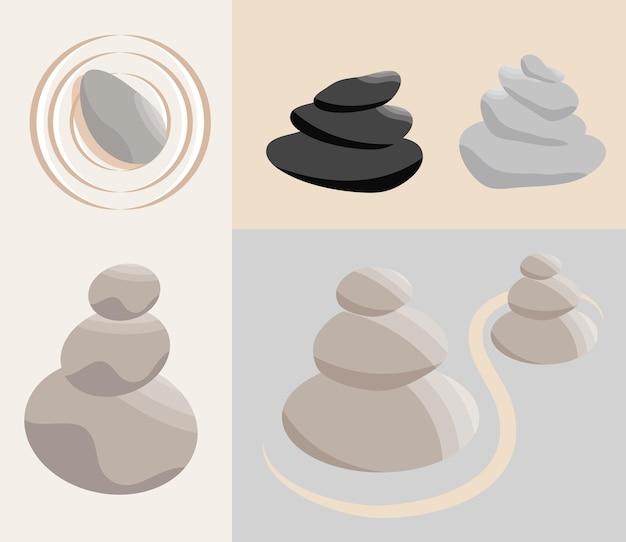 Giardino zen con pietre impilate