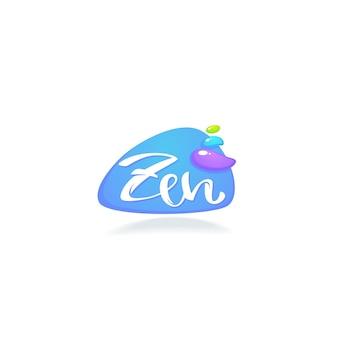 Logo zen e meditazione con composizione di lettere e pietre spa