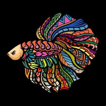 Zentangle arti della mascotte di pesce betta. design del logo esport