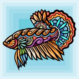 Le arti zentangle del design del logo esport della mascotte dei pesci betta