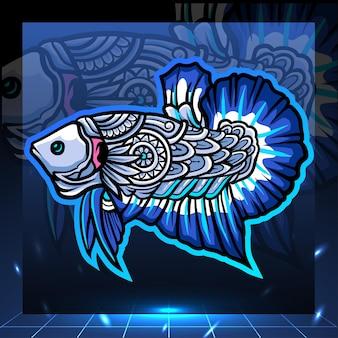 Le arti zentangle del design del logo esport della mascotte del pesce betta del bordo blu