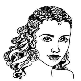 Zentangle stilizzato ragazza astratta