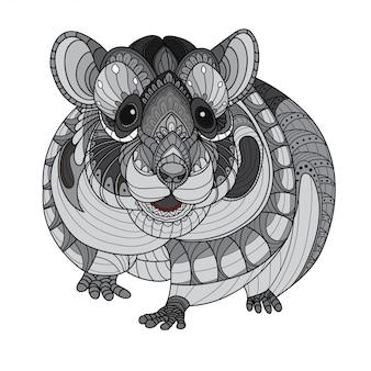 Zentangle illustrazioni stilizzate di criceto-vettoriale