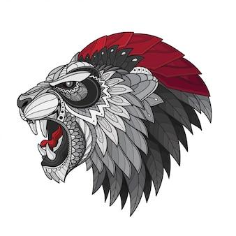 Illustrazioni stilizzate di testa-vettoriali di leone zentangle