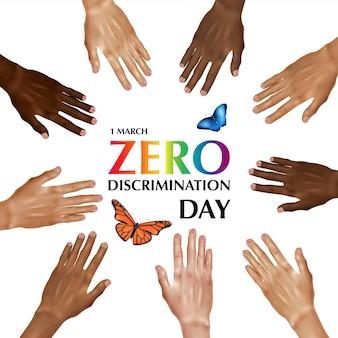 Composizione del giorno a discriminazione zero con testo colorato circondato da mani umane di colore diverso con illustrazione di farfalle