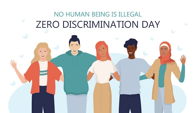 Web o banner pubblicitario per la giornata di discriminazione zero. uguali diritti per ogni razza, nazione, genere e sessualità. gruppo di amici di razza e sesso diversi.