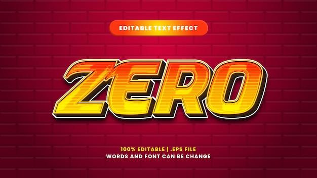 Zero effetto di testo modificabile in moderno stile 3d