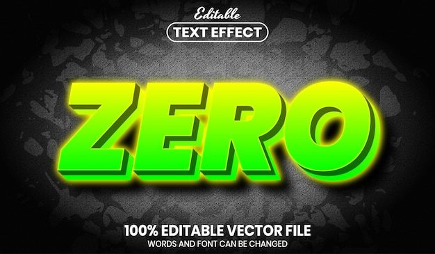 Zero testo al neon, effetto testo modificabile in stile carattere