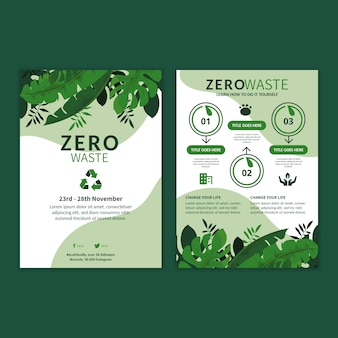 Modello di volantino pubblicitario per rifiuti zero