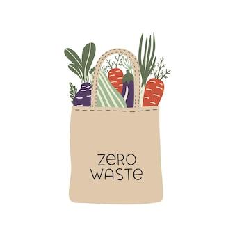 Sacco zero rifiuti con verdure