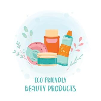 Prodotto di bellezza a spreco zero. elementi eco per le persone che hanno a cuore l'ecologia. fornisce igiene ecologica. illustrazione vettoriale isolato