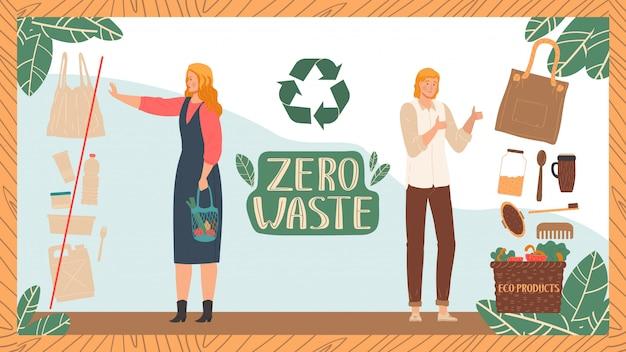 Zero rifiuti, personaggi, maschi, femmine fanno riciclaggio, illustrazione. utilizzo plastica, vetro, metallo.