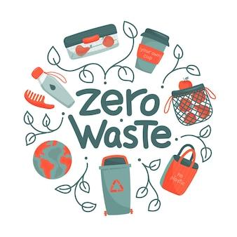 Concetto di rifiuti zero in un cerchio