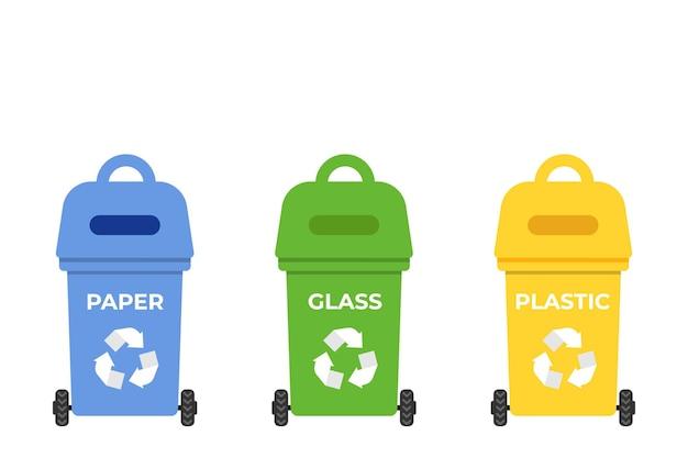 Concetto di rifiuti zero contenitori con segno di riciclaggio