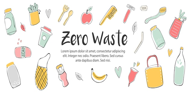 Zero waste concept design con elementi ecologici disegnati a mano e posto per il testo. copertina per pagine social